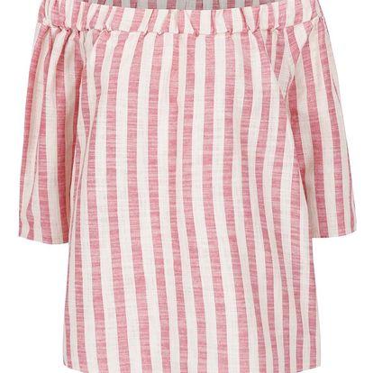 Béžovo-červený oversize top s s odhalenými rameny VERO MODA Laura