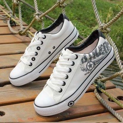 Dámské plátěné boty v několika barvách s potiskem či bez