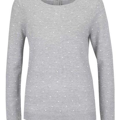 Šedý puntíkovaný svetr s knoflíky na zádech Vero Moda Glory