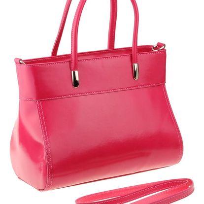 Růžová kožená kabelka Matilde Costa Liens - doprava zdarma!