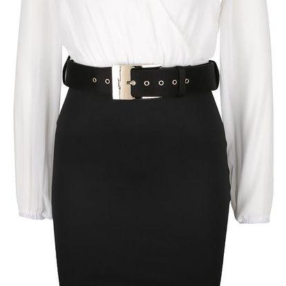 Černo-krémové šaty s překládaným topem a páskem AX Paris