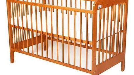 Postýlka dětská dřevěná For Baby Zorka pevné boky olše Matrace do postýlky For Baby 120x60 cm - bílá (zdarma)
