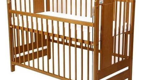 Postýlka dětská dřevěná For Baby Vojta stahovací bok kaštan Matrace do postýlky For Baby 120x60 cm - bílá (zdarma) + Doprava zdarma