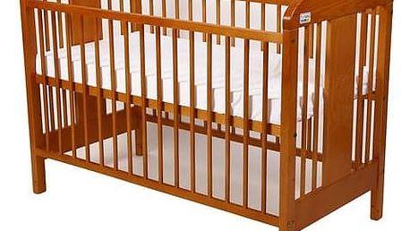 Postýlka dětská dřevěná For Baby Miluška pevné boky olše Matrace do postýlky For Baby 120x60 cm - bílá (zdarma)