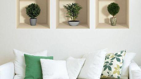 Sada 3 samolepek s 3D efektem Ambiance Small Bushes