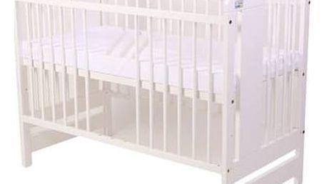 Postýlka dětská dřevěná For Baby Vojta vyndavací příčky bílá Matrace do postýlky For Baby 120x60 cm - bílá (zdarma) + Doprava zdarma