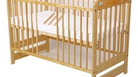 Postýlka dětská dřevěná For Baby Marek vyndavací příčky borovice Matrace do postýlky For Baby 120x60 cm - bílá (zdarma) + Doprava zdarma