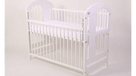 Postýlka dětská dřevěná For Baby Vojta stahovací bok bílá Matrace do postýlky For Baby 120x60 cm - bílá (zdarma) + Doprava zdarma