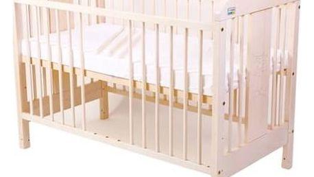 Postýlka dětská dřevěná For Baby Miluška vyndavací příčky bílá transparentní Matrace do postýlky For Baby 120x60 cm - bílá (zdarma) + Doprava zdarma