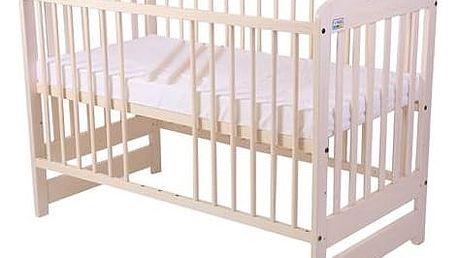 Postýlka dětská dřevěná For Baby Marek vyndavací příčky bílá transparentní Matrace do postýlky For Baby 120x60 cm - bílá (zdarma) + Doprava zdarma