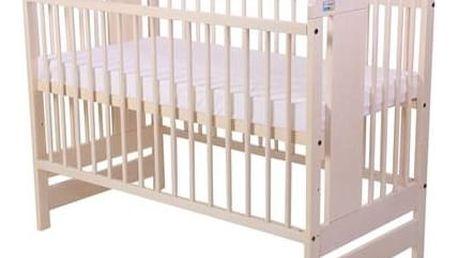 Postýlka dětská dřevěná For Baby Vojta pevné boky bílá transparentní Matrace do postýlky For Baby 120x60 cm - bílá (zdarma)