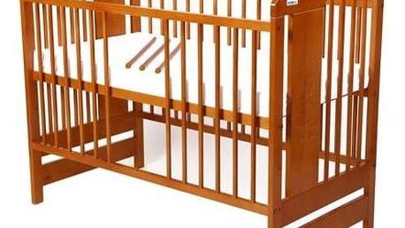 Postýlka dětská dřevěná For Baby Vojta vyndavací příčky olše Matrace do postýlky For Baby 120x60 cm - bílá (zdarma) + Doprava zdarma