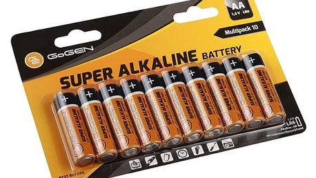 Baterie alkalická GoGEN AA, LR06, blistr 10 ks (GOGR06ALKALINE10) černá/oranžová