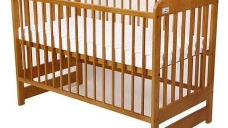 Postýlka dětská dřevěná For Baby Marek pevné boky buk Matrace do postýlky For Baby 120x60 cm - bílá (zdarma)