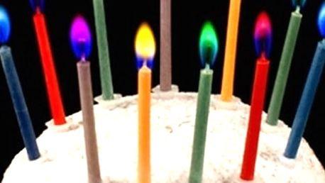 Netradiční barevně hořící svíčky na dort, barevné, barevně i hoří, každá svíčka má plamen jiné barvy