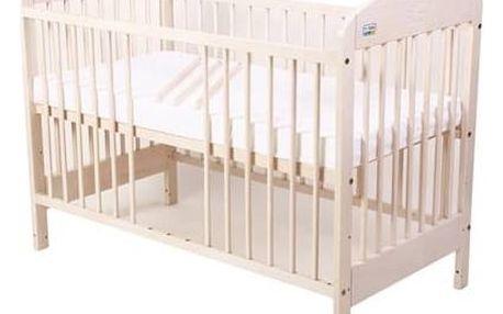 Postýlka dětská dřevěná For Baby Zorka vyndavací příčky bílá transparentní Matrace do postýlky For Baby 120x60 cm - bílá (zdarma)