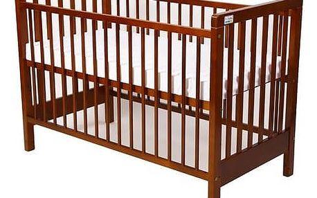 Postýlka dětská dřevěná For Baby Věra pevné boky kaštan Matrace do postýlky For Baby 120x60 cm - bílá (zdarma)