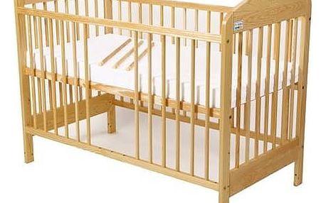 Postýlka dětská dřevěná For Baby Zorka vyndavací příčky borovice Matrace do postýlky For Baby 120x60 cm - bílá (zdarma)