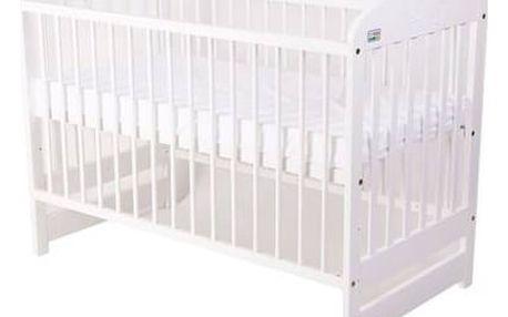 Postýlka dětská dřevěná For Baby Marek pevné boky bílá Matrace do postýlky For Baby 120x60 cm - bílá (zdarma)