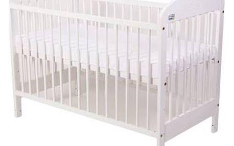 Postýlka dětská dřevěná For Baby Zorka pevné boky bílá Matrace do postýlky For Baby 120x60 cm - bílá (zdarma)