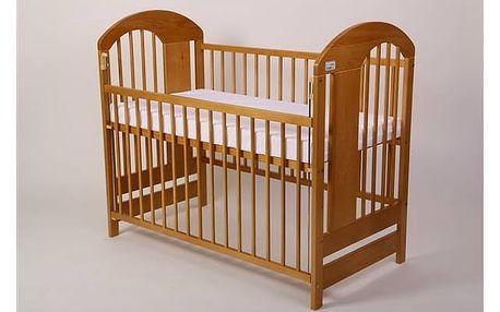 Postýlka dětská dřevěná For Baby Vojta stahovací bok buk Matrace do postýlky For Baby 120x60 cm - bílá (zdarma) + Doprava zdarma