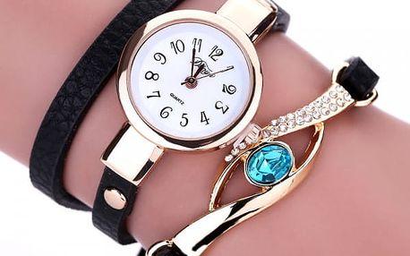 Vícevrstvé hodinky pro ženy s ozdobným kamínkem