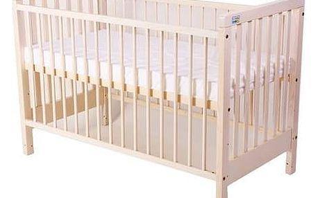 Postýlka dětská dřevěná For Baby Věra pevné boky bílá transparentní Matrace do postýlky For Baby 120x60 cm - bílá (zdarma)