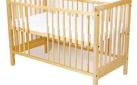 Postýlka dětská dřevěná For Baby Věra vyndavací příčky borovice Matrace do postýlky For Baby 120x60 cm - bílá (zdarma)