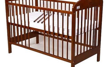 Postýlka dětská dřevěná For Baby Zorka vyndavací příčky kaštan Matrace do postýlky For Baby 120x60 cm - bílá (zdarma)