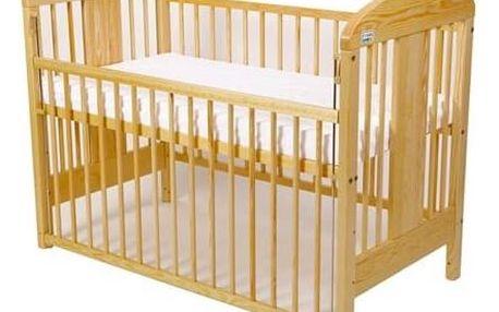 Postýlka dětská dřevěná For Baby Miluška stahovací bok borovice Matrace do postýlky For Baby 120x60 cm - bílá (zdarma) + Doprava zdarma