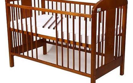 Postýlka dětská dřevěná For Baby Miluška vyndavací příčky kaštan Matrace do postýlky For Baby 120x60 cm - bílá (zdarma) + Doprava zdarma