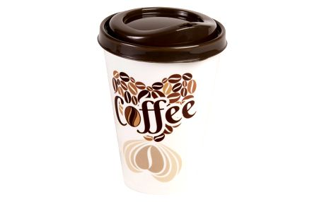 FAVE Kelímek na kávu s víčkem 0,43 l 9x13 cm