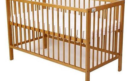 Postýlka dětská dřevěná For Baby Magda pevné boky buk Matrace do postýlky For Baby 120x60 cm - bílá (zdarma)