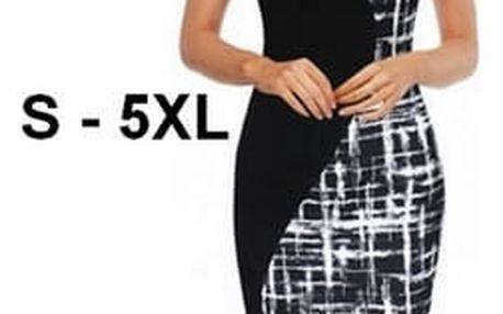 Pouzdrové slim šaty s potiskem - 8 velikostí