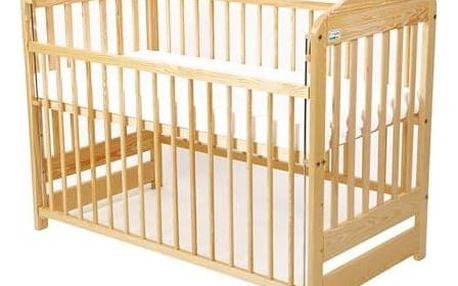 Postýlka dětská dřevěná For Baby Marek stahovací bok borovice Matrace do postýlky For Baby 120x60 cm - bílá (zdarma) + Doprava zdarma