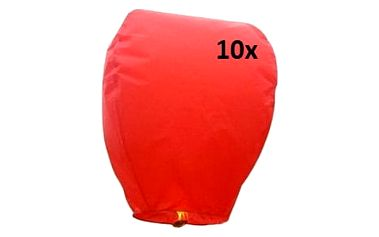 Lampión štěstí 10 ks - čepice - červená