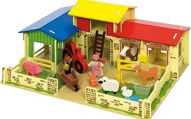 BIGJIGS Dřevěná farma se zvířátky