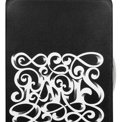 Černo-bílý potah na kufr Loqi Type Paris Art Deco