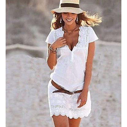Mini bílé šatičky s krajkou a hlubokým výstřihem - různé velikosti