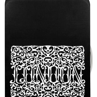 Černo-bílý potah na kufr Loqi Type London Heritage
