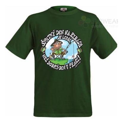 Divja Špatný den na rybách tričko pánské zelené - XXXL