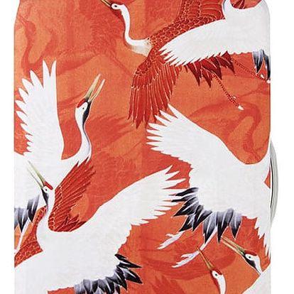 Oranžový potah na kufr Woman's Haori with White & Red Cranes
