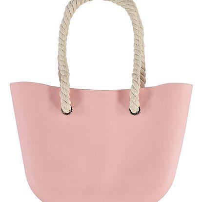 Světle růžová gumová kabelka Jelly