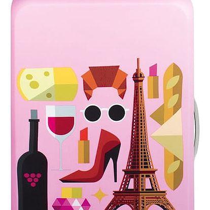Růžový potah na kufr Loqi Hey Paris