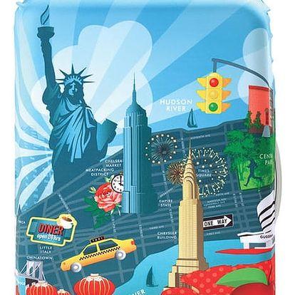 Modro-červený potah na kufr Loqi Urban New York