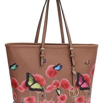 Béžová květovaná kabelka Wild Flowers