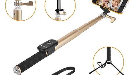 Selfie tyč GoGEN 4 teleskopická, bluetooth (GOGBTSELFIE4G) zlatá + DOPRAVA ZDARMA
