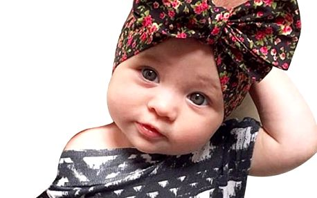 Dětská elastická čelenka s krásnou mašlí - více variant