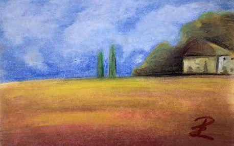 Kreslení pravou mozkovou hemisférou: tužka a suchý pastel + malba suchým štětcem