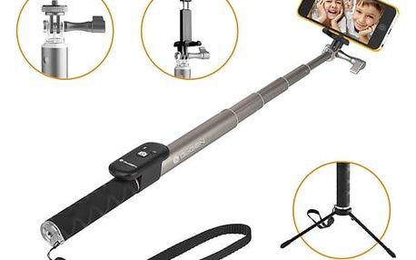 Selfie tyč GoGEN 4 teleskopická, bluetooth (GOGBTSELFIE4T) titanium + DOPRAVA ZDARMA